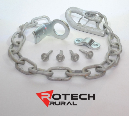 Farm Gate Latch Kit Screw On or Weld On Spring Loaded - 500mm Chain