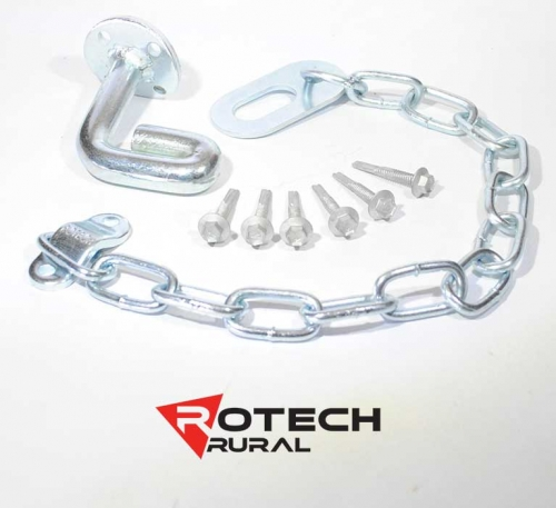 Farm Gate Oval Latch Kit Screw or Weld On - 350mm Chain Rotech SORL350