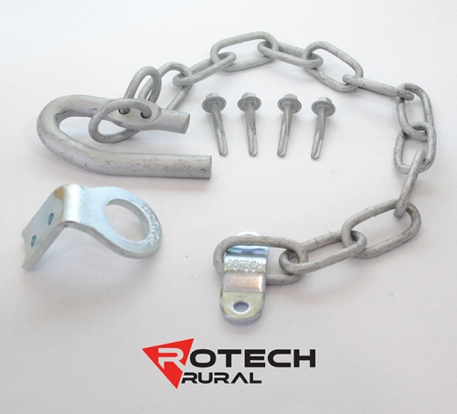Farm Gate Latch Kit Screw On or Weld On - 350mm Chain